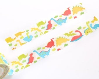Cute Dinosaur Animal Washi Tape 15mm/ Masking Tape/ Gift Wrapping/ Deco Tape/ Birthday Wedding Party Washi Tape Cute Packaging