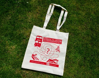 Tote Bag - London to Japan in a Routemaster Bus - Screen printed
