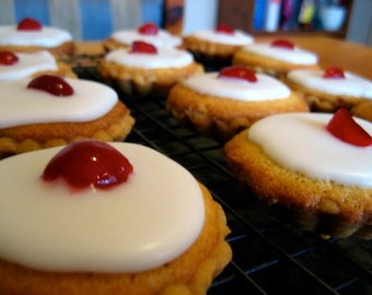 Classic English Bakewell Tarts = 1 Dozen- Iced Cherry version - traditional and best