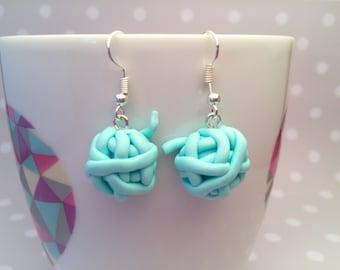 Customize Adorable Tiny Handmade Polymer Clay Yarn Balls Earrings