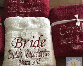 Personalized Bath or Beach Towels - Great gift for Bridesmaids, Birthday, Wedding, Bachelorette, Beach or Pool Parties and more