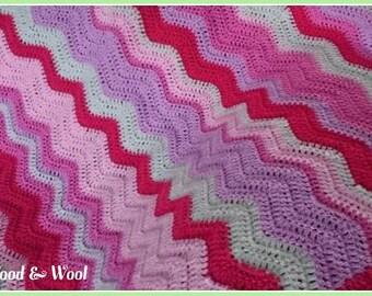 Pink baby blanket, crochet baby blanket, pink, ripple, baby cot blanket, baby girl blanket