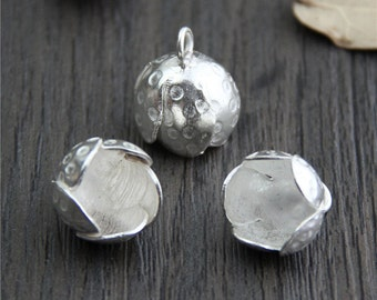 Sterling silver flower charm, flower pendant,silver flower charm,DIY Findings for Bracelet and Necklace