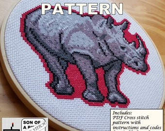 Rhino PDF Cross Stitch Pattern / Instant Download