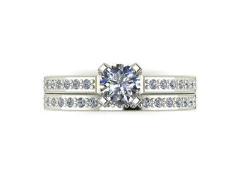 Bridal Set Moissanite Engagement Ring in 9 Carat White Gold