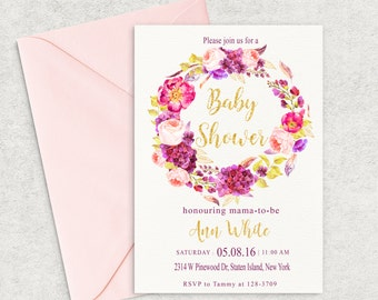 Watercolor Wreath Baby Shower Invitation, Floral Baby Shower Invitation, Printable Invitation, Girl Baby Shower Invite, Custom invitation