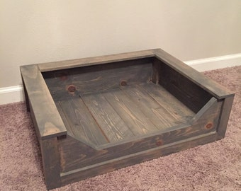 Wooden Dog Bed Rustic Stain- Small