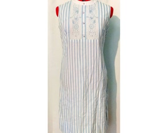 Stacy Ames Blue Striped Shift Dress with Embroidered Bodice