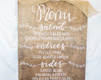 Menu sign | wedding signage | calligraphy menu | hand lettered menu | wood sign | wedding wood sign | dinner menu | wedding menu