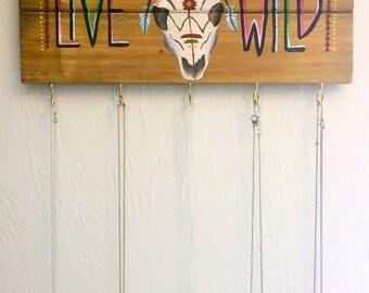 Longhorn Skull / Jewelry Display / Necklace Holder / Key Holder / Key Rack / Wood Signs / Pallet Sign / Boho Decor / Wall Art / Gift Women