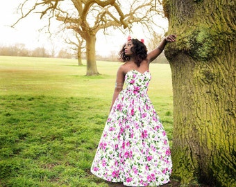 Bridesmaid summer floral maxi dress
