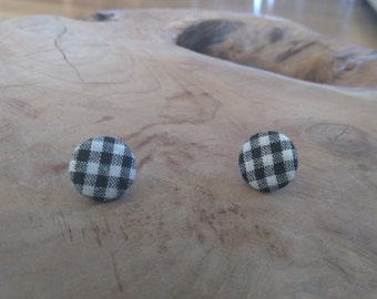 Earrings buttons, fabric, black and white checkered pattern