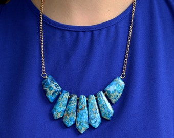 Statement bib necklace blue natural stone