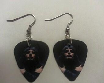 Freddie Mercury Custom Printed Guitar Pick Earrings