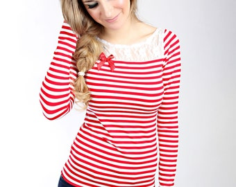 "MEKO ""Tweet"" shirt of top ladies red-white striped"