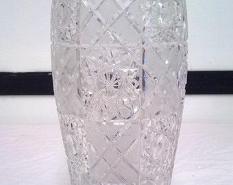 Huge Bohemian crystal vase-Large Bohemian crystal vase-1970