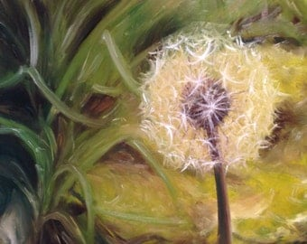 Time, Dandelion, Clock, Giclee, Print, Art