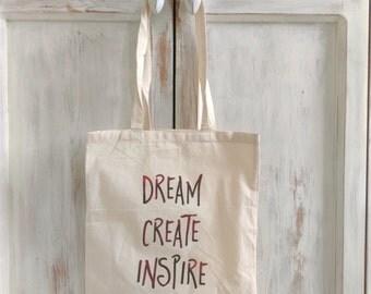 Canvas tote bag dream create inspire quote