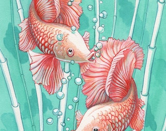Ballerina goldfish-koi hybrid original watercolour painting