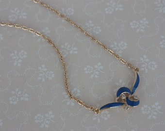 Blue and Gold Bow Necklace - Vintage Ribbon Necklace - Enamel and Rhinestone Necklace - Gold Tone Chain Necklace