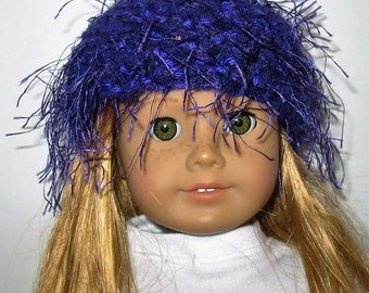 """18"""" Doll Clothes fit American Girl Crocheted Wild & Crazy Fun Fur Hat PURPLE"""