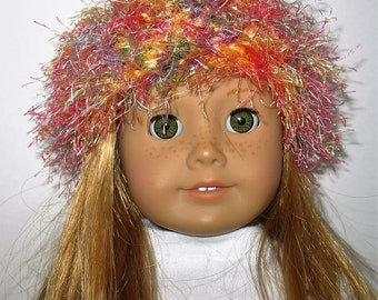 """18"""" Doll Clothes fit American Girl Crocheted Wild & Crazy Fun Fur Hat PASTELS Blend"""