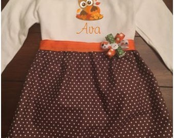Owl in Leaves Toddler and Girls Dress, Toddler and Girls Fall Thanksgiving Dress, Toddler and Girls Pumpkin Patch Dress