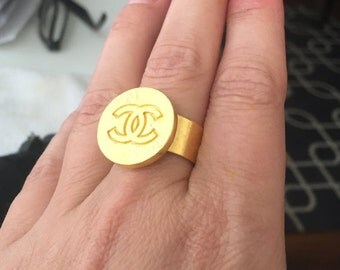 Gold Chanel Button Ring
