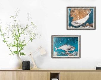 Set of 2 prints, Whale Print, Nautical Decor, Nautical wall Decor,Nautical Prints, Whale Art, 2 Piece Set, 50 X 70cm Print, #506WH #507WH