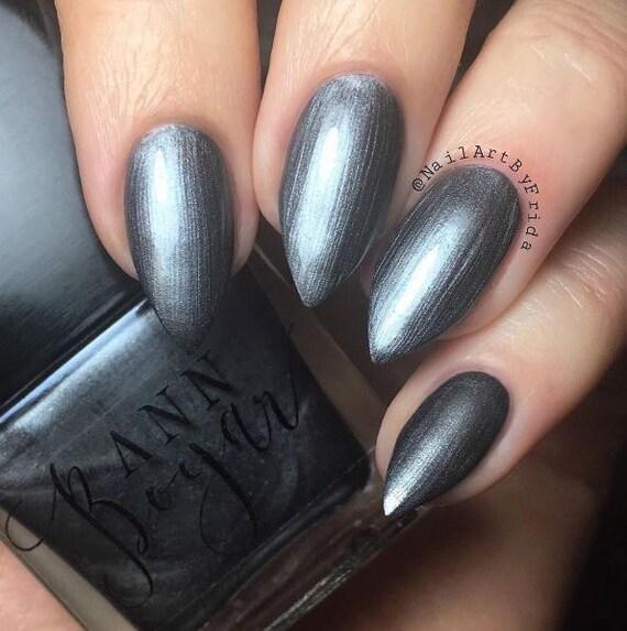 GUNMETAL Grey Nail Polish Shimmer Nail Lacquer Organic
