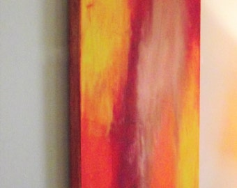 Abstract Wall Art Orange Yellow Red wine tangerine silver gold Acrylic Canvas Contemporary Modern 12 x 36 Office Home Decor Room wedding