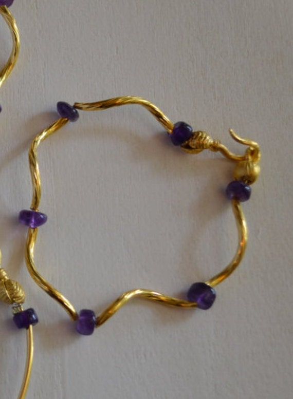 Bracelet with Amethyst Beads and  Swirl Gold Bars , Swan Clasp, 22k gold plated