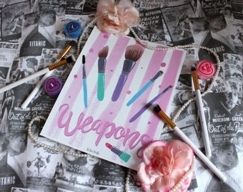 Pastel Make up Brushes Print
