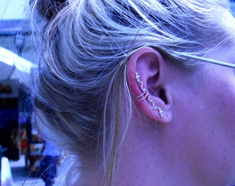 Long Sterling Silver Earcuff