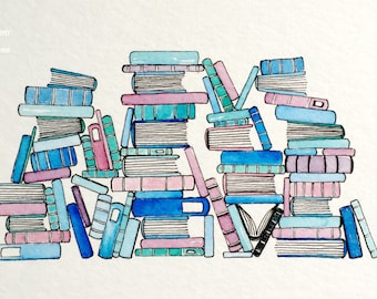 Original Watercolor Painting: Chaotic Books