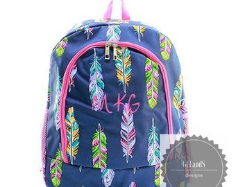 Monogrammed Feather backpack ships in 2 days