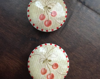1.5 inch cabinet knob, drawer pull, country kitchen, farmhouse, Red and green, red striped, knobs, pulls, decoupaged