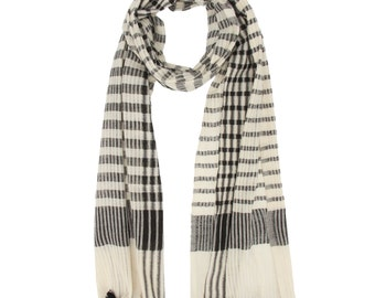 black and white Cotton Handmade scarf black scarves for women women cotton scarf