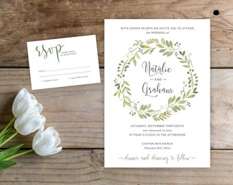 Printable Wedding Invitation Set, Modern Wedding Invitation, Printable Wedding Suite, Botanical Wedding Invitation, Rustic wedding invite