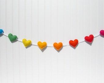 Rainbow heart banner / garland / bunting - Nursery decoration