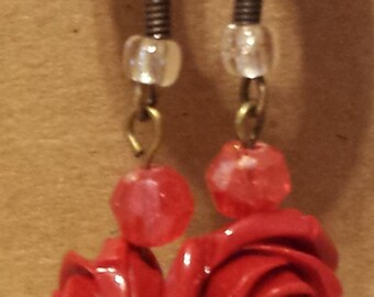 Red Rose Earrings with Red Crystals