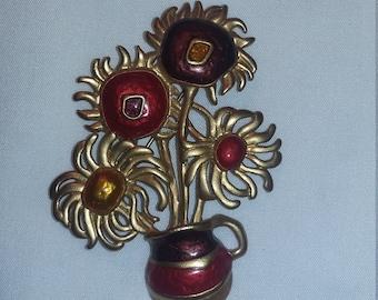 Avon Impressionist Flowers Brooch 1992