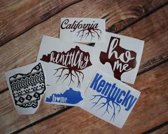 Home State Decals | Roots | Aztec | Heart | Texas | Kentucky | Tennessee | Ohio | California | Arkansas |Mississippi | Alabama | Florida
