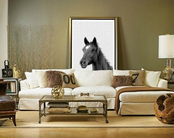 Horse Print, Horse Art, Horse Wall Art, Black and White, Animal Wall Art, Equestrian Art, Modern Poster, Printable Art, Instant Download