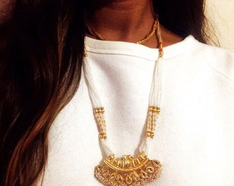 Sonu Vintage Indian Necklace in Gold & White