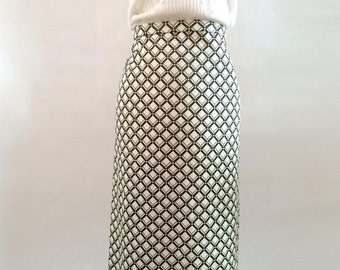 Elegant luxurious vintage pencil skirt hand printed black/offwhite checked pattern 1960