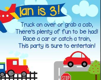 Planes Trains and Automobiles Birthday Invitation