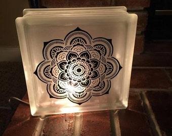 Mandala Glass Block