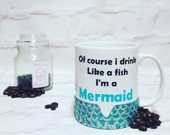 Mermaid mug, Glittered mug, Glittered coffee cup