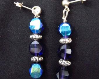Metallic Blue Drop Earrings